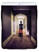 Victorian Lady In Hallway Duvet Cover