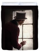 Victorian Man At A Window Duvet Cover