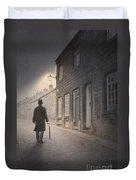Victorian Man On A Cobbled Street Duvet Cover