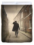 Victorian Man Running On A Cobbled Road Duvet Cover
