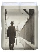 Victorian Man Walking Towards A Row Of Cottages Duvet Cover