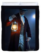 Victorian Man With Lantern At Night Duvet Cover