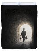 Victorian Man With Top Hat And Case Walking Under A Bridge Duvet Cover