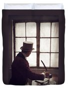Victorian Man Writing With A Quill At His Desk Duvet Cover