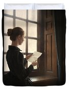 Victorian Or Edwardian Woman Reading A Letter By The Window Duvet Cover