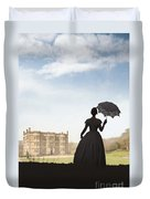 Victorian Woman Approaching A Country Estate Duvet Cover