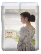 Victorian Woman Approaching A Country Manor House Duvet Cover