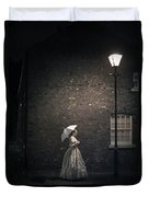 Victorian Woman Beneath A Street Lamp Duvet Cover
