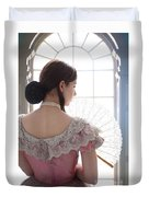 Victorian Woman By A Window Duvet Cover