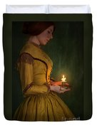 Victorian Woman Holding A Candle Duvet Cover