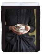 Victorian Woman Holding A China Cup And Saucer Of Tea Duvet Cover