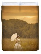 Victorian Woman In A Summer Meadow Duvet Cover