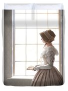Victorian Woman In Profile At A Window Duvet Cover