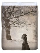 Victorian Woman In Snow Storm Duvet Cover