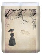 Victorian Woman In Winter Duvet Cover