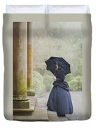 Victorian Woman On Stone Steps Duvet Cover