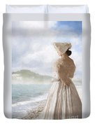 Victorian Woman On The Beach Looking Out To Sea Duvet Cover