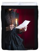 Victorian Woman Reading A Letter By Candle Light Duvet Cover