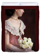 Victorian Woman With Roses Duvet Cover