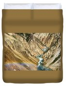 View From Lower Falls Of The Yellowstone River  Duvet Cover