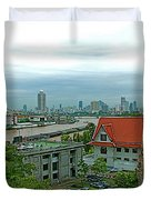 View From Temple Of The Dawn-wat Arun In Bangkok-thailand Duvet Cover
