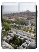 View From The Valens Aqueduct In Istanbul Duvet Cover
