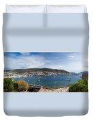 View Of A Harbor From A Castle, St Duvet Cover