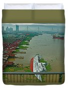 View Of A Ship On Its Side From A Bridge Near Bangkok-thailand Duvet Cover