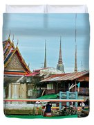 View Of A Temple From Waterway Of Bangkok-thailand Duvet Cover