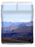 View Of Absaroka Mountains From Mount Washburn In Yellowstone National Park Duvet Cover