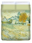 View Of Asylum And Saint-remy Chapel Duvet Cover by Vincent van Gogh