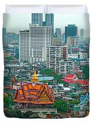 View Of Bangkok Buildings From Grand China Princess Hotel In Bangkok-thail Duvet Cover