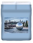 View Of Charlotte Nc Skyline From Midtown Park Duvet Cover