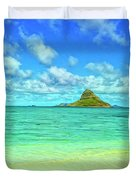 View Of Chinaman's Hat Duvet Cover