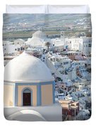 View Of Fira With Famous Church Santorini Greece Duvet Cover
