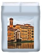 View Of Florence Along The Arno River Duvet Cover