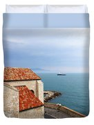 View Of Mediterranean In Antibes France Duvet Cover