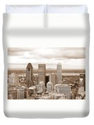 View Of Montreal In Sepia Duvet Cover