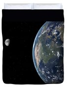 View Of North America With Rise In Sea Duvet Cover by Walter Myers
