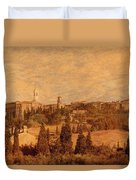 View Of Pienza And The Tuscan Landscape Duvet Cover