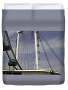 View Of Spokes Of The Singapore Flyer Along With The Base Section Duvet Cover