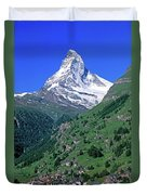 View Of The Matterhorn And The Town Duvet Cover