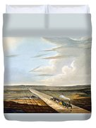 View Of The Railway Across Chat Moss Duvet Cover