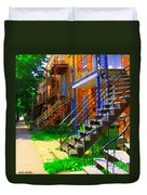 View Of Verdun Steps Stairs Staircases Winding Through Summer  Montrealstreet Scenes Carole Spandau Duvet Cover