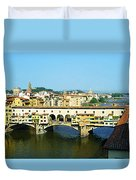 View On Ponte Vecchio From Uffizi Gallery Duvet Cover