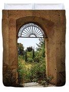 View Through The Monastery Window Duvet Cover