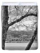 View Through The Trees To Longs Peak Bw Duvet Cover