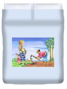 Village Life In Cameroon 01 Duvet Cover