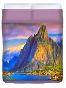 Village On The Naeroyfjord Norway Duvet Cover