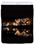Village Reflected In The Water Duvet Cover
